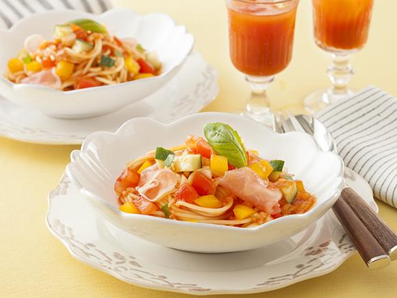 彩り野菜の冷た~いスパゲッティ