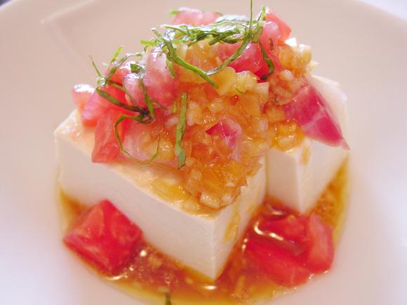 トマトと白身魚のレモンしょうゆやっこ