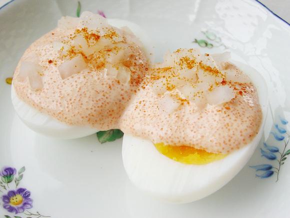 ゆで卵の明太子ソース