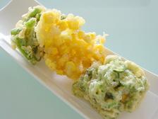 初夏の野菜かき揚げ三種