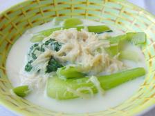 チンゲン菜とホタテのクリーム煮