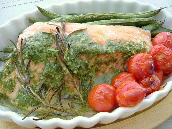 魚のグリル グリーンハーブソース