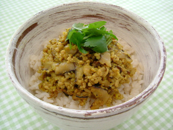 Japanese curry-flavored chicken crumble on rice