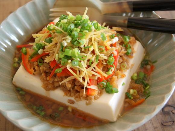 豆腐のたっぷりしょうが蒸し