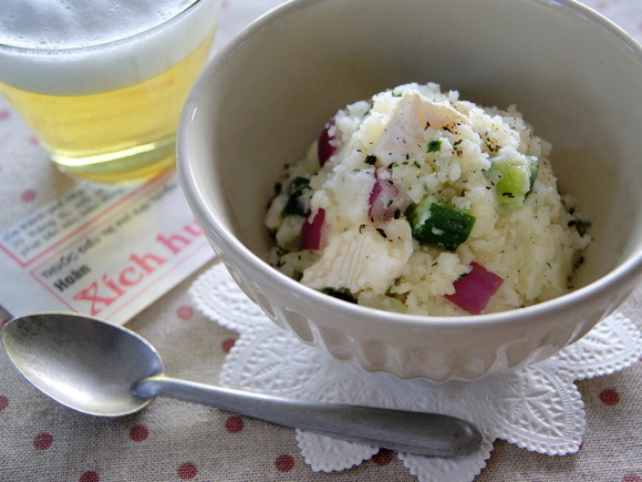 Potato salad with camembert cheese