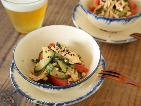 きゅうりとゆで鶏のピリ辛サラダ