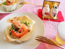春野菜と魚介のサラダ 雑穀ドレッシング