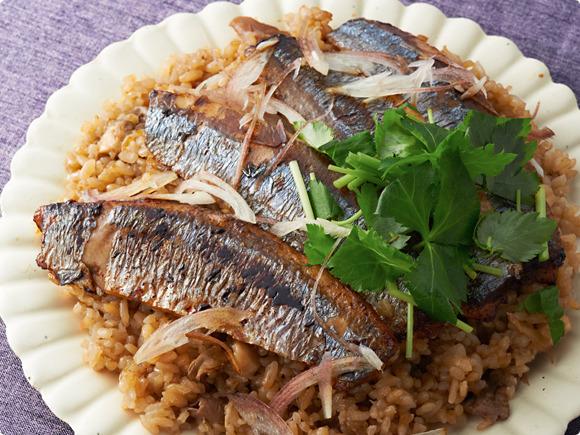 秋刀魚ステーキの薬味ご飯